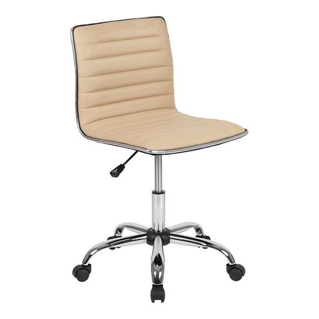 DS-512B-TAN-GG Flash Furniture Swivel Foam Molded Seat Dual Wheel Casters Chair, Glossy Tan