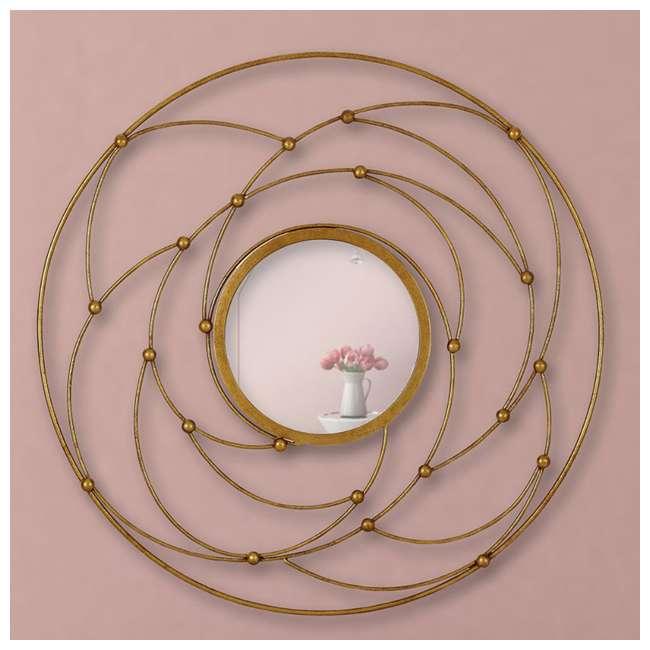 2641-P Majestic Mirror Round Contemporary Gold Leaf Metal Decorative Accent Mirror 3
