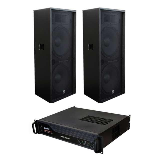GTX-2150 + XGA-4000 2 Gemini GTX-2150 Dual 15-Inch Speakers 2520w with 4000w Amp (Pair)