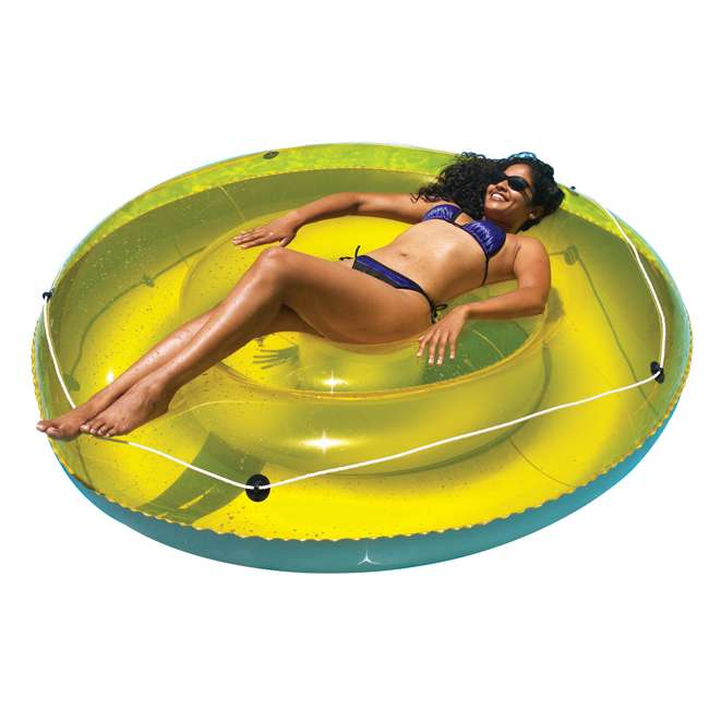 "9050-U-B Swimline 72"" Swimming Pool Sun Tan Lounger Island Float Inflatable 9050 (Used) 2"