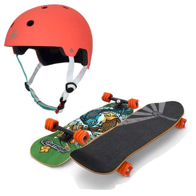 T8-3066 + 08231-SHARK Triple 8 Skate and Bike Helmet, Neon Tangerine + Fathom Shark Wheel Komoyo Cruiser Longboard, Green