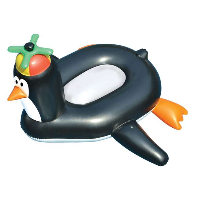 90630-U-B Swimline Swimming Pool Giant Rideable Happy Penguin Inflatable Float Toy (Used)