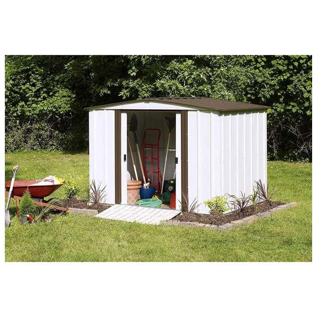 NW86-A Arrow Newburgh 8 x 6 Foot Steel Backyard Outdoor Garden Storage Shed, White 3