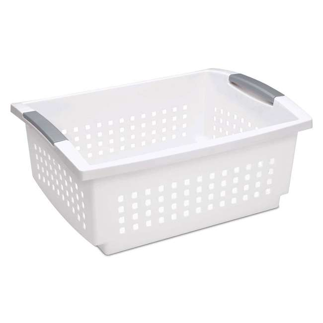 10 x 16648010 Sterilite Large Plastic Stackable Storage & Organization Basket, White (10 Pack) 1