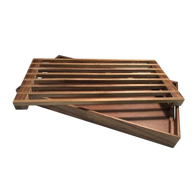 KALMAR-441 Kalmar Home 441 3 in 1 Acacia Wood Tray, Trivet, and Bread Crumb Catcher, Brown 1