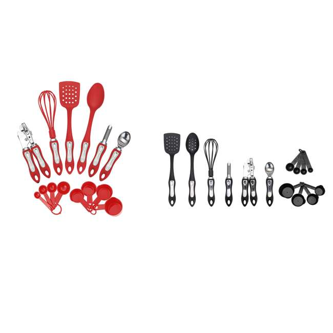 HGA602 + HGA602R Hamilton Beach 14 Piece Tool Set, Black & Tool Gadget Set, Red