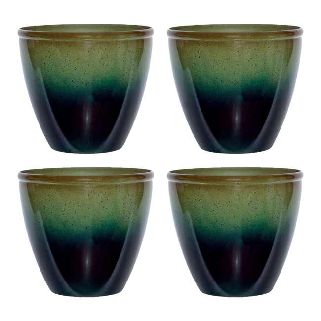 1606GP32 Suncast Seneca 16 Inch Decorative Resin Flower Planter Pot, Green/Blue (4 Pack)