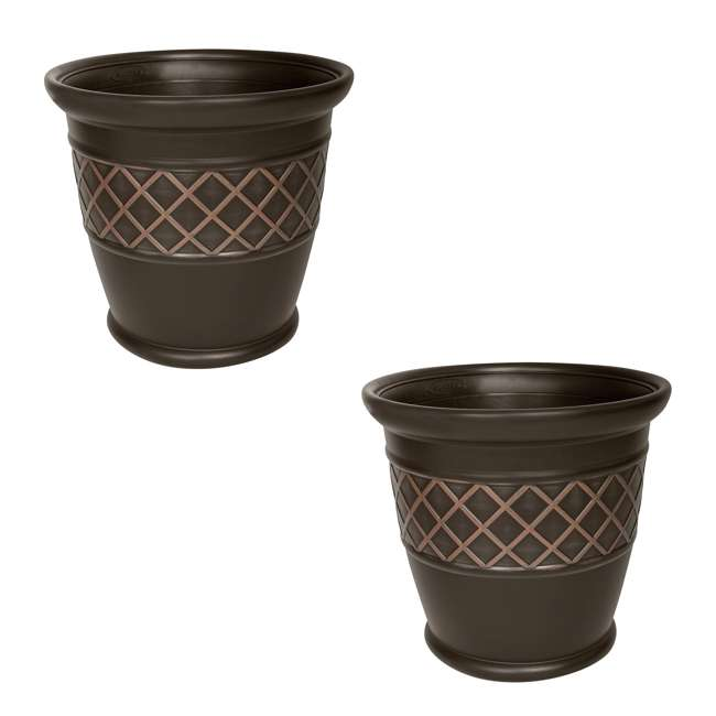 P181601E34 Suncast Atlin 18 Inch Resin Round Decorative Flower Pot Planter, Java (2 Pack)