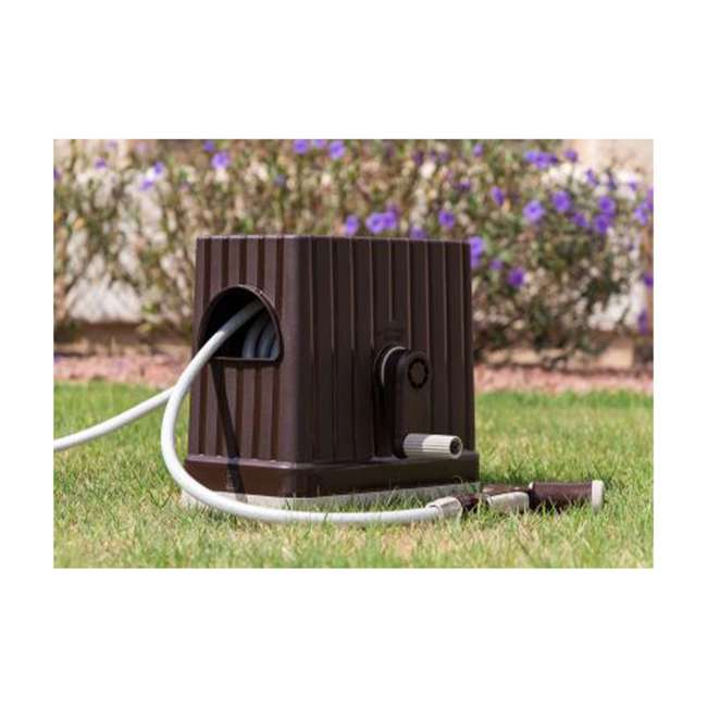 588518 IRIS USA 98.42 Foot Portable Hose Reel Caddy with Nozzle, Brown 1