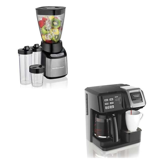 49976 + 52400 Hamilton FlexBrew Coffee Maker & A 32 Ounce Blender w/ To Go Cups