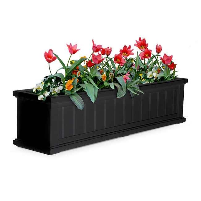 MO-4841-B Mayne Cape Cod 4 Foot Rectangle Outdoor Windowsill Flower Planter Box, Black