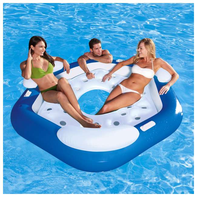 43111E-BW + 66639E Bestway 3-Person Floating Water Island Lounge Raft + AC Electric Air Pump 5