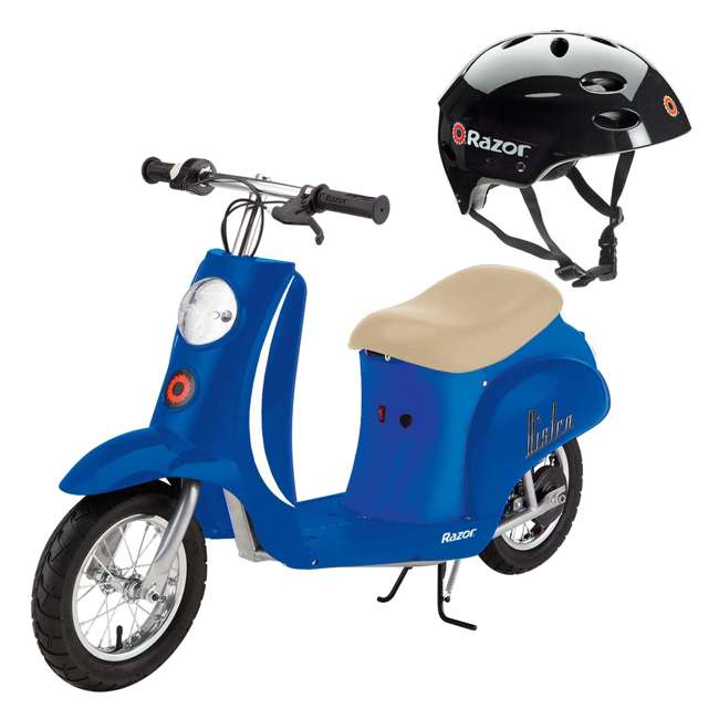 15130641 + 97778 Razor Pocket Mod Miniature Electric Scooter + Youth Helmet