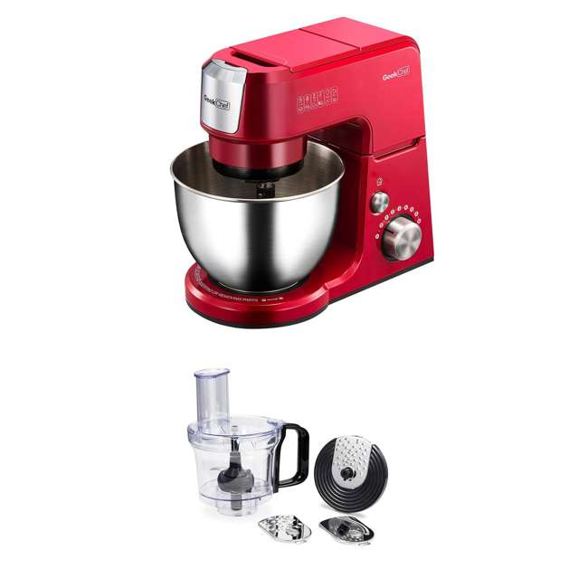 GM25R + GMFP Geek Chef GM25R 2.6 Quart 7 Speed Tilt Head Stand Mixer & Food Processor Chopper