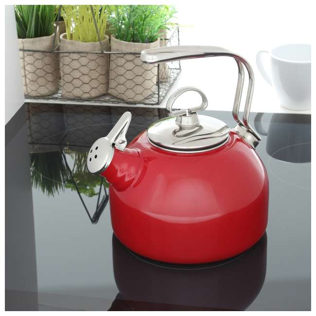 37-18S-RE Chantal 1.8 Quart Enamel Stove Top Whistling Tea Pot Kettle, Red (2 Pack) 2