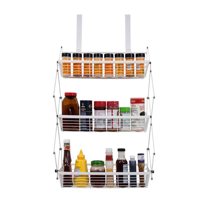 OTD-3R-WHI Supermoon Products Over the Door 3 Tier Hanging Rack (2 Pack) 3