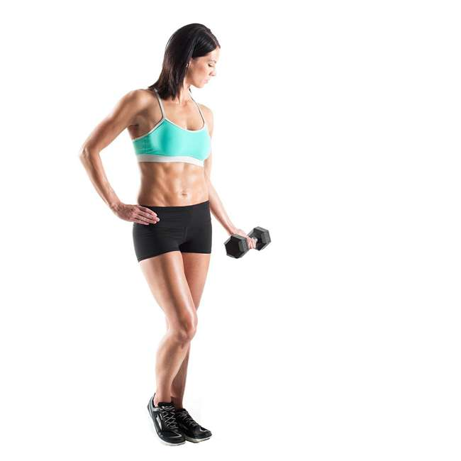 WDBKR20017-U-A Weider Fitness 200 Pound Weights Hand Grip Rubber Hex Dumbbell Set (Open Box) 4