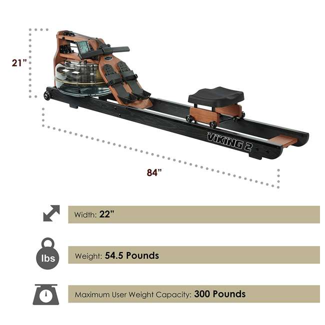 VIK2ARB First Degree Fitness Indoor Water Rower with Adjustable Resistance - Apollo Pro II Black Reserve 3