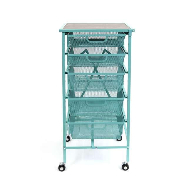 DFS-05-TURQ Origami Wheeled Foldable 5-Drawer Storage Cart, Turquoise  2