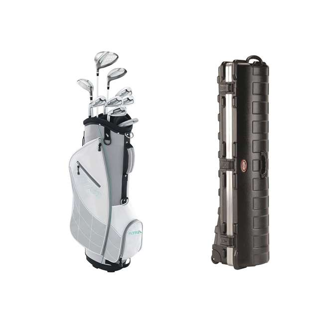 WGGC4330L + 2SKB-1649W Wilson Womens Left Handed Complete Golf Club Set & Wheeled Case