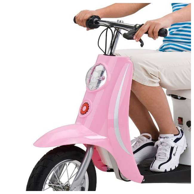 15130610 + 97783 + 96785 Razor Pocket Mod Electric Retro Scooter + Youth Sport Helmet + Elbow & Knee Pads 5