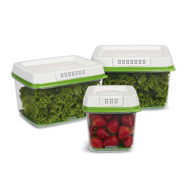 2016450 Rubbermaid FreshWorks Produce Saver 3 Piece Fresh Food Storage Container Se 1