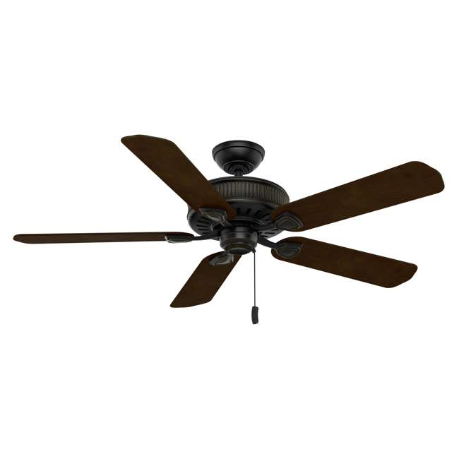 54002 Casablanca Ainsworth 54 Inch Indoor Ceiling Fan with Pull Chain, Basque Black