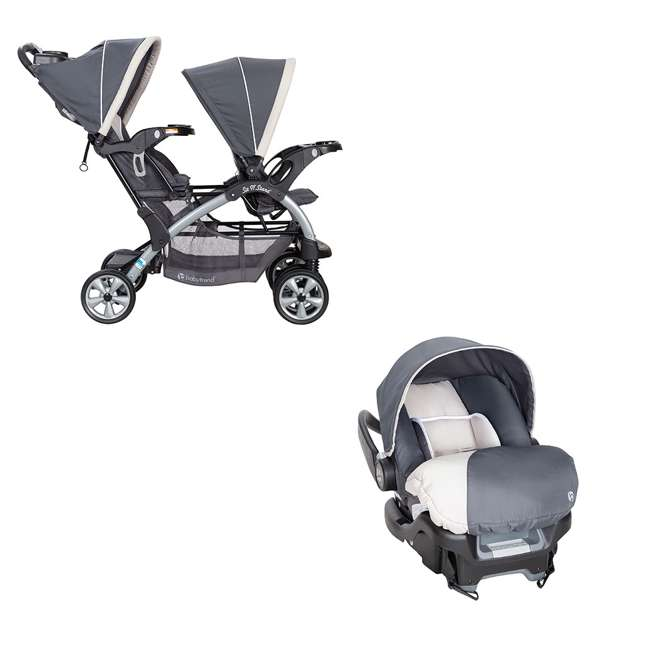 SS76C81A + CS79C81A Baby Trend 5 Point Double Stroller & 35 LB Infant Car Seat w/ Car Base, Magnolia