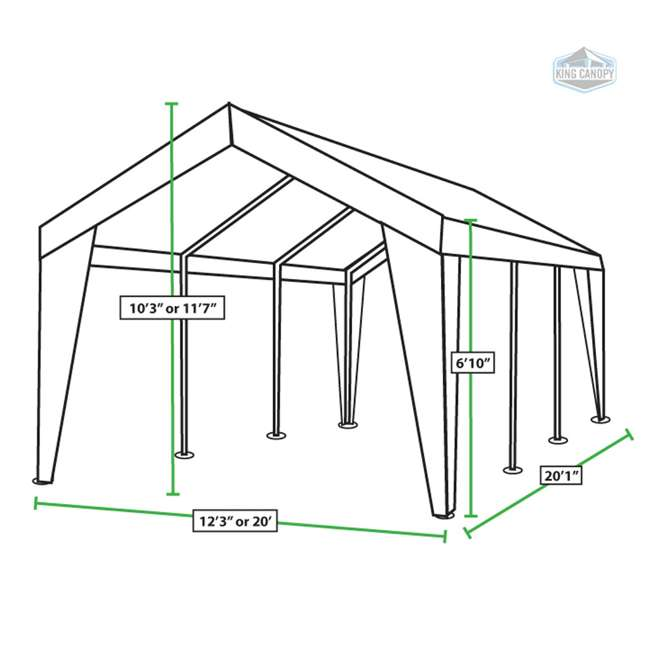EX1220 King Canopy 12 x 20, 20 x 20 Foot Universal Canopy White 1