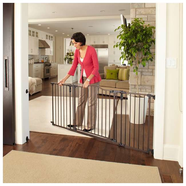 4934 + 2 x 4938 North States Deluxe Decor Baby and Pet Metal Gate + 2 15-Inch Extensions 5