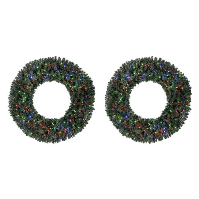 GD5000CYKD00 Home Heritage 60 Inch 1180 Tip Christmas Wreath w/ 300 Color LED Lights (2 Pack)