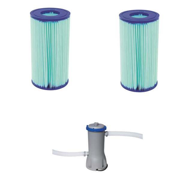 58476E-BW + 58388E-BW Bestway Anti Microbial Type III Filter Cartridge (2) w/Above Ground Filter Pump