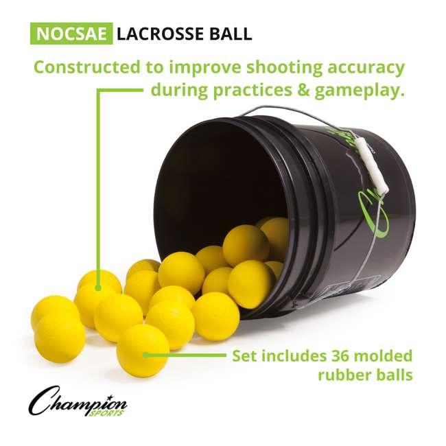 LBYN36 Champion Sports Official Rubber Bulk Lacrosse Lax Balls 36 Count Bucket, Yellow 4