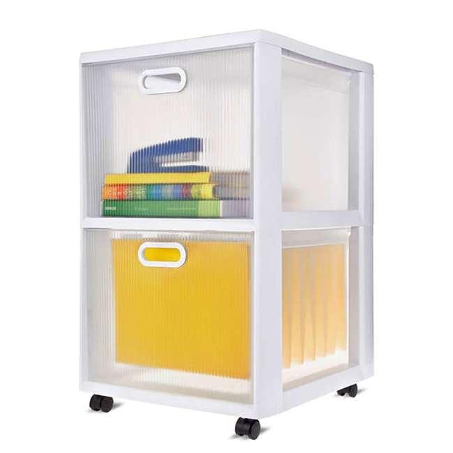 6 x 36208002  Sterilite Ultra 2-Drawer Portable Cart, White (6 Pack) 2