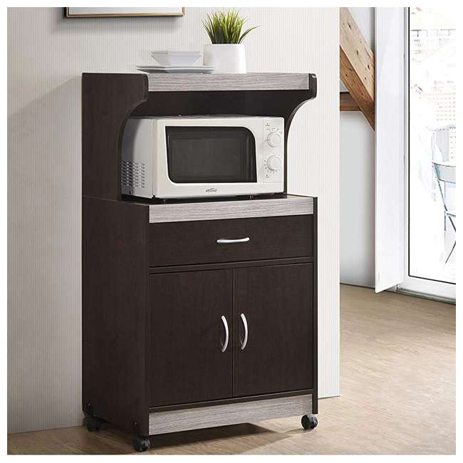 HIK72 CHOCO-GREY  Hodedah Wheeled Microwave Cart with Drawer and Cabinet Storage, Chocolate Grey 2