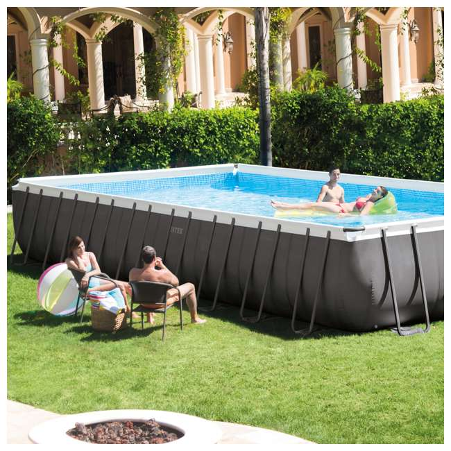 Intex 32 39 x 16 39 x 52 ultra frame rectangular swimming pool set w butterfly vac 26371eh k905cbx for Intex rectangular swimming pool