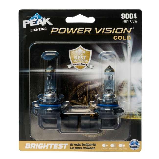 9004PVG-2BPP PEAK Lighting Power Vision Gold 9004 HB1 65W Brightest White Headlight Bulbs