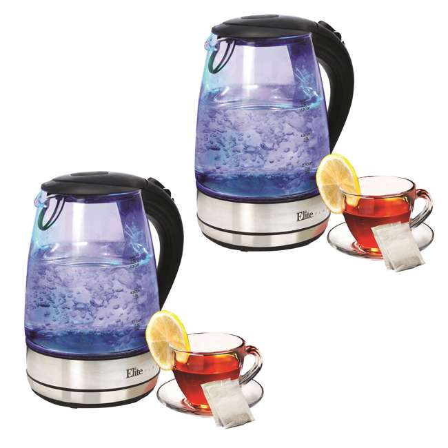 EKT-200 Maxi-Matic Elite Platinum 1.7-Liter Cordless Electric Kettle (2 Pack)