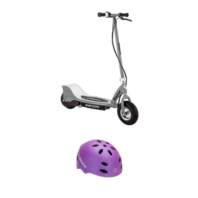 13116312 + 97961 Razor E325 Motorized Ride On Scooter, Silver and Razor Safety Helmet, Purple
