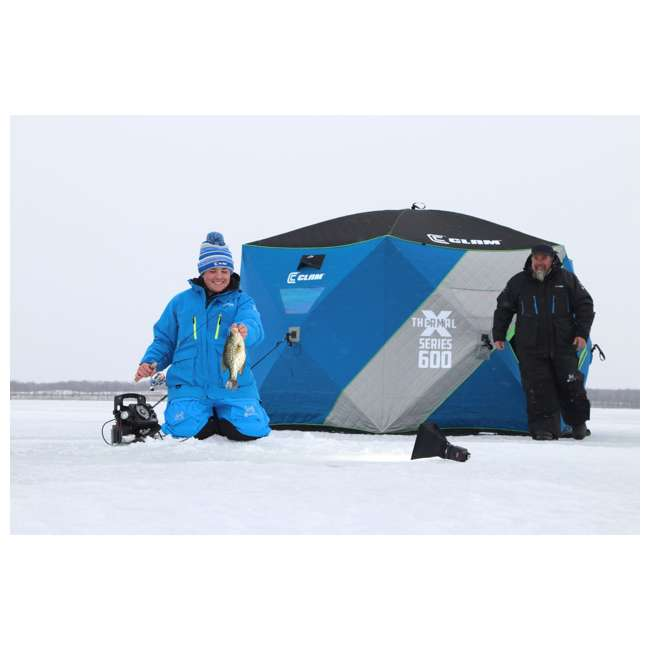 CLAM-14470 Clam X600 Thermal 5-7 Person Outdoor Portable Pop Up Ice Fishing Shelter Tent 1