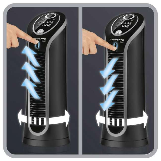 Vu6211 Rowenta Vu6211 Fresh Compact 15 Inch Quiet 3 Speed Oscillating Tower Fan, Black 3