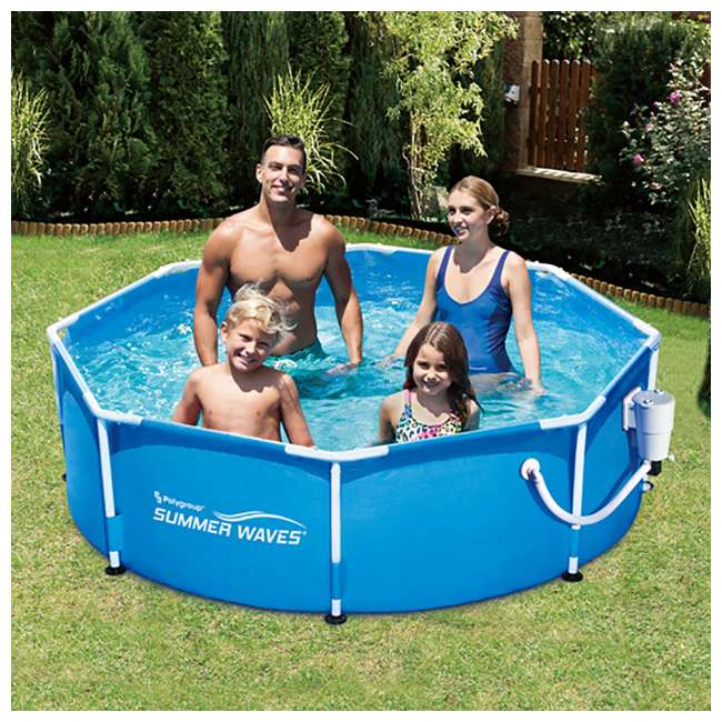 Summer waves 8 39 metal frame above ground pool set - 8 foot above ground swimming pools ...