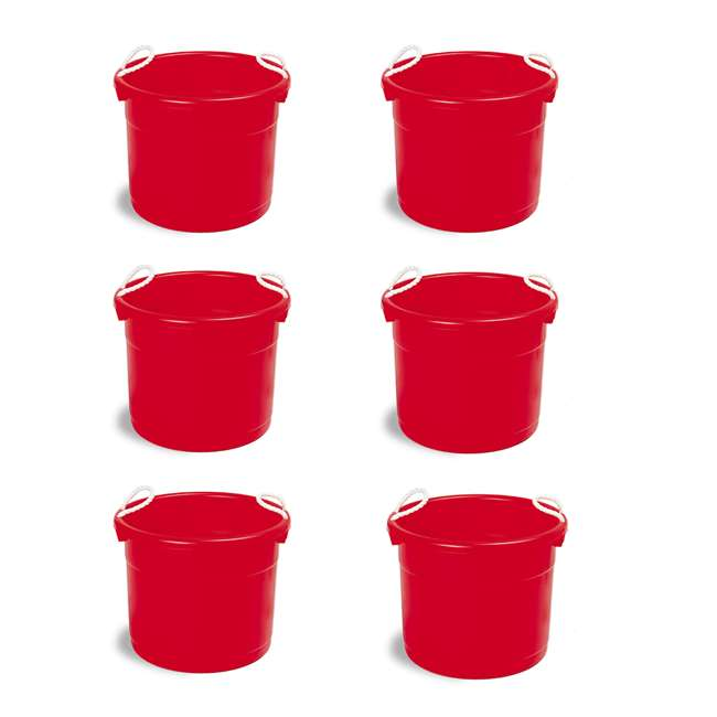 6 x 8119RD-6 Continental Commercial Huskee Hauler 19-Gallon Bucket (6 Pack)