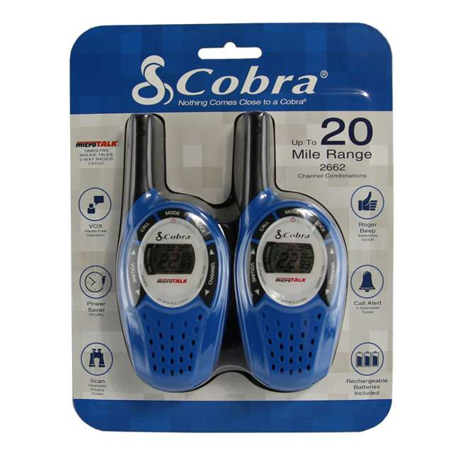 CXT237 Cobra CXT 237 MicroTalk 20-Mile FRS/GMRS 22 Channel Walkie Talkies (PAIR) 2