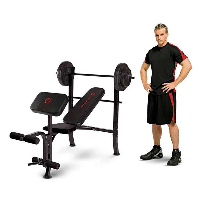 MKB-2081-U-C Marcy Pro Home Gym Standard Weight Bench w/ 80 LB Weight Set, Black (For Parts) 1