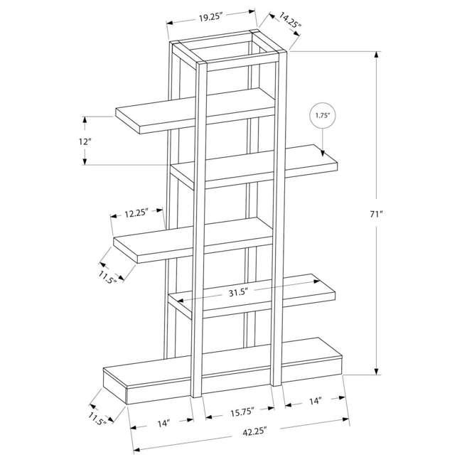 VM-2541 Monarch 71-Inch Cappuccino Open Concept Display Etagere Bookcase 4