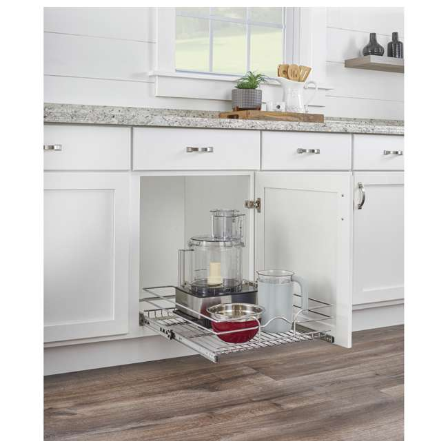 """5WB1-1520CR-1 Rev-A-Shelf 5WB1-1520CR-1 15"""" x 20"""" Single Kitchen Cabinet Pull Out Wire Basket 3"""
