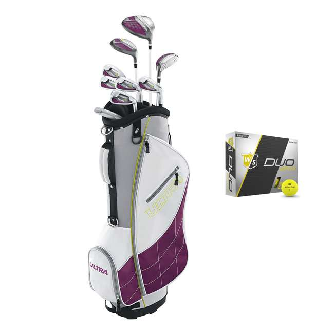 WGGC43400 + WGWP40150 Wilson Ultra Ladies Right-Handed Super Long Golf Club Bag Set & Balls