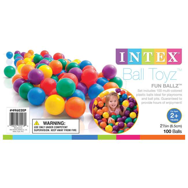 49602EP 100-Pack Intex Small Plastic Multi-Colored Fun Ballz 4
