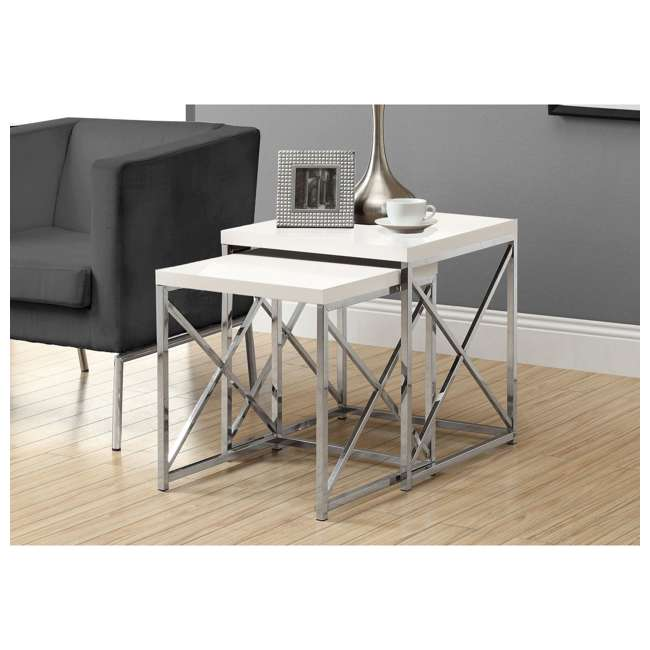 MS-VM3025-U-A Monarch Specialties Accent 2-Piece End Tables, Glossy White (Open Box) (2 Pack) 2
